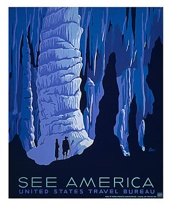 Cavern Painting - Caverns And Caves American Travel by Elaine Plesser