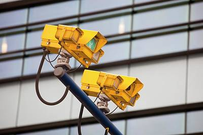 Cctv Cameras For Monitoring Traffic Print by Ashley Cooper