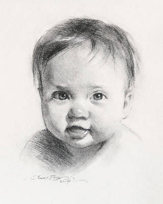 Daughters Painting - Cece At 6 Months Old by Anna Rose Bain