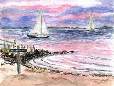 Cedar Beach Pinks Original by Clara Sue Beym