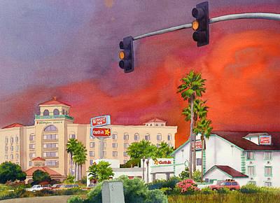 Traffic Painting - Cedar Fire San Diego 2003 by Mary Helmreich