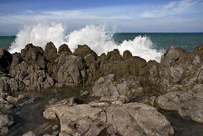 Cefalu Rocks Print by Alida Thorpe