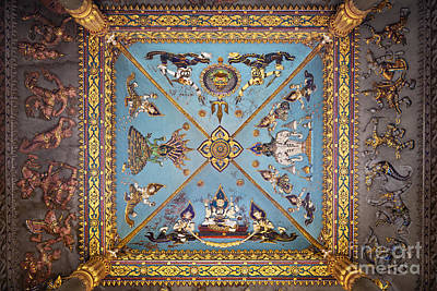 Patuxai Photograph - Ceiling Decoration Of The Patuxai Monument In Vientiane by Roberto Morgenthaler