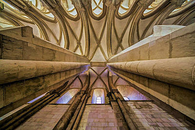 Window Bench Photograph - Ceiling Of The Monastery Da Batalha  by David Letts