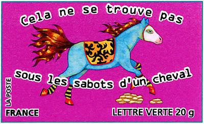Red Painting - Cela Ne Se Trouve Pas Sous Les Sabots D'un Cheval Stamp by Lanjee Chee