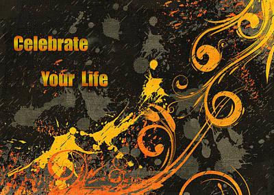 Orange Mixed Media - Celebrate Your Life Modern Art by Georgiana Romanovna