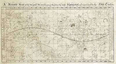 Constellations Photograph - Celestial Map Of The Heavens by Library Of Congress, Geography And Map Division