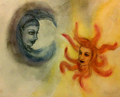 Heavenly Body Mixed Media - Celestial Sisters by Jennie Hallbrown
