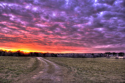 Celestial Winter Sunset And The Way Home Print by Reid Callaway