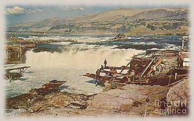 Columbia River Photograph - Celilo Falls Postcard by Charles Robinson