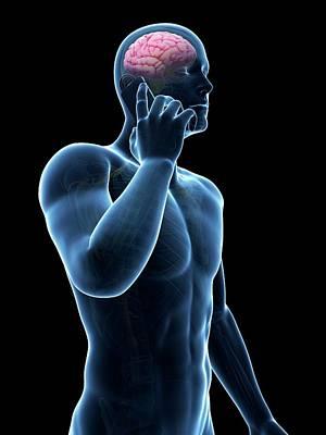 Cell Phone And Human Brain Print by Sebastian Kaulitzki