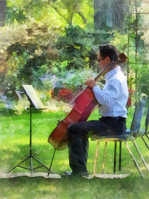 Sheet Music Photograph - Cellist In The Garden by Susan Savad