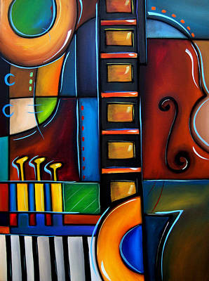 Abstract Pop Drawing - Cello Again By Fidostudio by Tom Fedro - Fidostudio