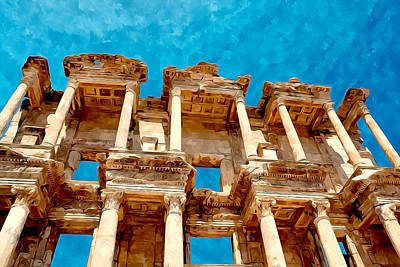 Renovation Painting - Celsus Library In Ephesus by Lanjee Chee