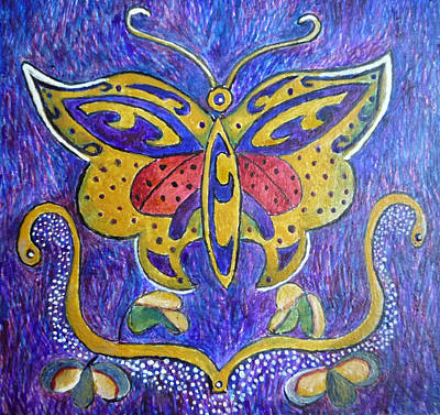 Egg Tempera Painting - Celtic Butterfly Totem by Catherine Meyers