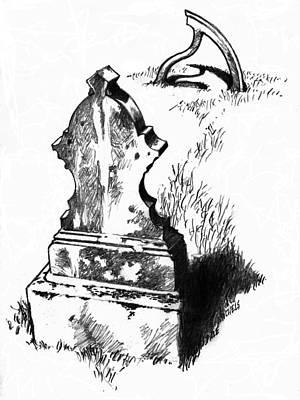 Letterpress Drawing - Celtic Cross by Dale Michels