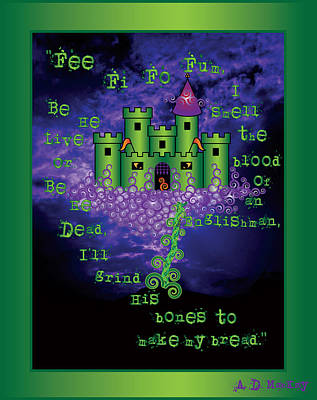Fairy Digital Art - Celtic Jack And The Beanstalk In Green by Celtic Artist Angela Dawn MacKay