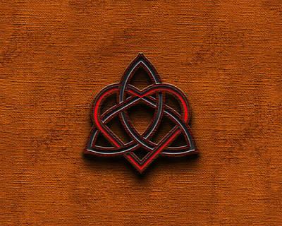 Companion Digital Art - Celtic Knotwork Valentine Heart Canvas Texture 1 Horizontal by Brian Carson
