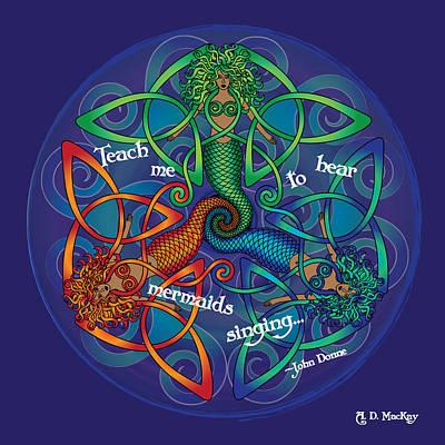 Celtic Digital Art - Celtic Mermaid Mandala by Celtic Artist Angela Dawn MacKay