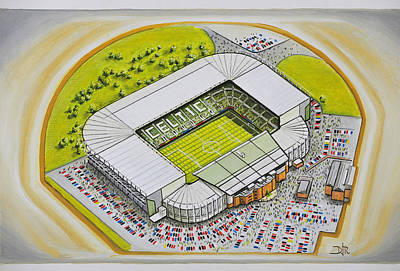 Football Painting - Celtic Park - Celtic by D J Rogers