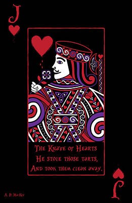 Celtic Queen Of Hearts Part II The Knave Of Hearts Print by Celtic Artist Angela Dawn MacKay