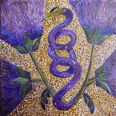 Egg Tempera Painting - Celtic Snake Totem by Catherine Meyers