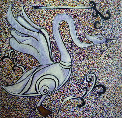 Egg Tempera Painting - Celtic Swan Totem by Catherine Meyers