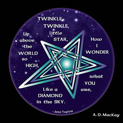 Nursery Rhyme Digital Art - Celtic Twinkle Twinkle by Celtic Artist Angela Dawn MacKay