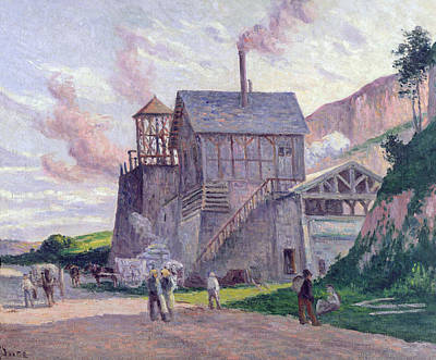 Factory Painting - Cement Factory At Vermenton by Miximilien Luce
