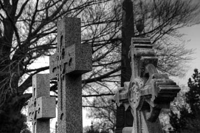 Eerie Photograph - Cemetery Crosses by Jennifer Ancker