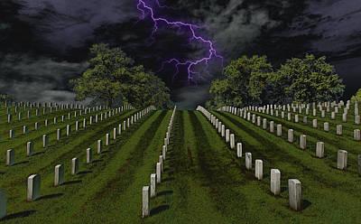 Cemetery Spook Print by Bill Tiepelman