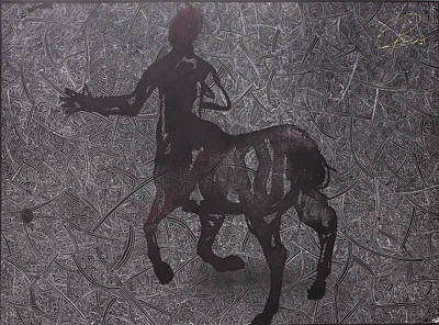 Centaur Mixed Media - Centaur In Negative by Ewa Pacia