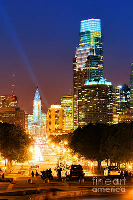 Center City Philadelphia Night Print by Olivier Le Queinec
