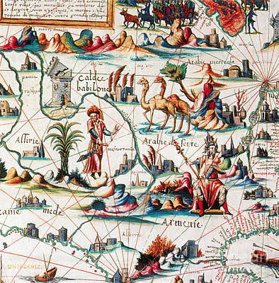 Central Asia Pierre Descelierss Map Print by Photo Researchers