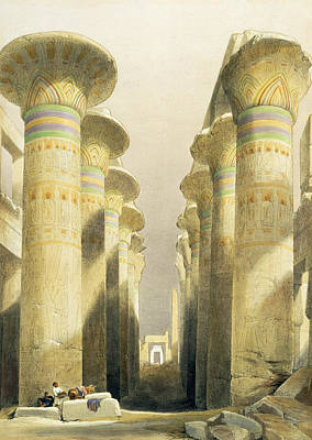Hieroglyphs Painting - Central Avenue Of The Great Hall Of Columns by David Roberts