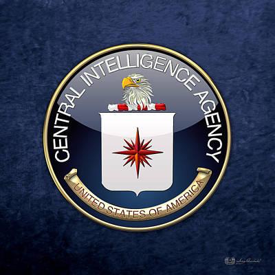 Central Intelligence Agency - C I A Emblem On Blue Velvet Print by Serge Averbukh