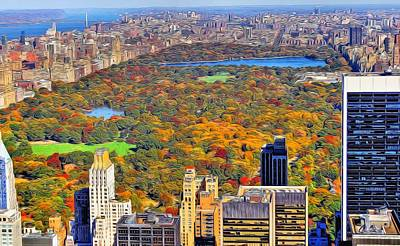 New York City Skyline Mixed Media - Central Park And Manhattan In Autumn by Dan Sproul