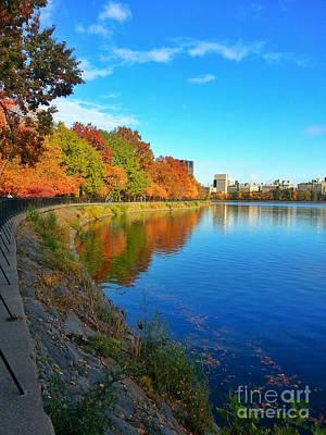 Water Photograph - Central Park Autumn Landscape by Charlie Cliques