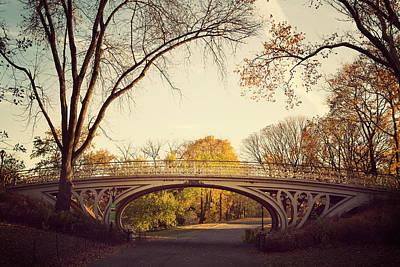 Gothic Bridge Photograph - Central Park In Autumn by Irene Suchocki