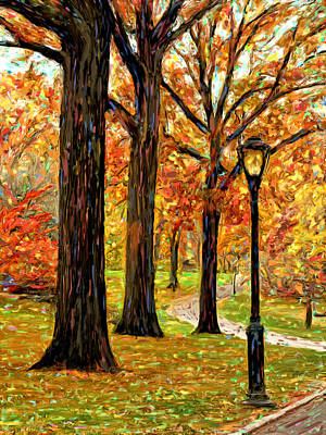 Lightpost Painting - Central Park In The Fall by Michael Pickett