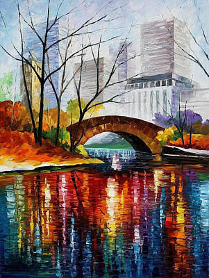 Central Park - Palette Knife Oil Painting On Canvas By Leonid Afremov Original by Leonid Afremov