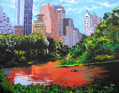 Canoe Mixed Media - Central Park by Steven Kuc