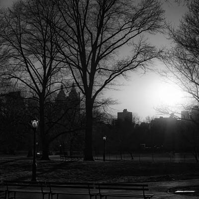 Central Park Sunset In Black And White 3 Print by Marianne Campolongo