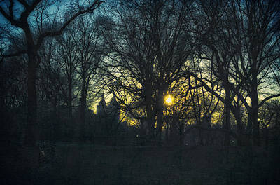 Nyc Mixed Media - Central Park Vintage Sunset by Marianne Campolongo