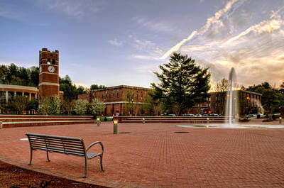 Central Plaza Bench At Wcu Print by Greg Mimbs