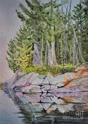 Pines Painting - Centre Lake Reflections by Lori Kallay