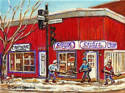 Centre Pizza Montreal Paintings Pointe St Charles Verdun Hockey Art Originals Commissions Prints  Print by Carole Spandau