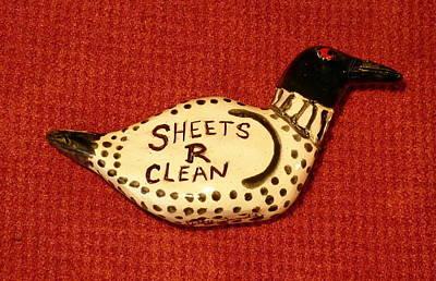 Sculpture - Ceramic Loon Sheets R Clean by Debbie Limoli