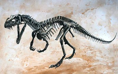 Dinosaur Painting - Ceratosaurus Skeleton by Harm  Plat