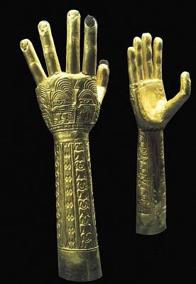 Precolumbian Photograph - Ceremonial Gold Hands With Embossed by Everett